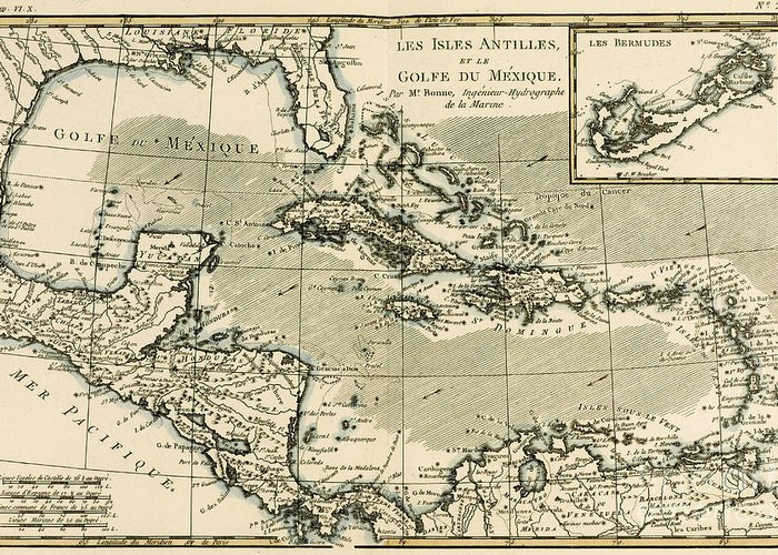 Map; Caribbean; Cuba; Haiti; Dominican Republic; Jamaica; Bahamas; Florida; Honduras; Nicaragua; Island; Maps Greeting Card featuring the drawing The Antilles And The Gulf Of Mexico by Guillaume Raynal