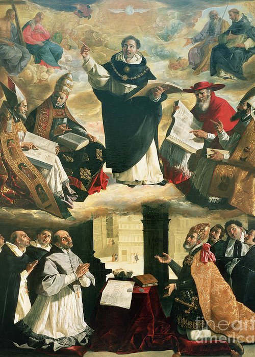 The Greeting Card featuring the painting The Apotheosis Of Saint Thomas Aquinas by Francisco de Zurbaran