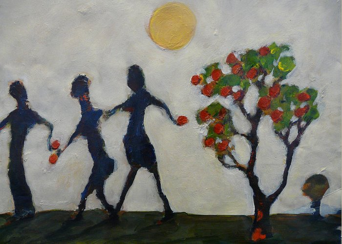 Apples Greeting Card featuring the painting The Apple Thieves by Juliet Mevi-Shiflett
