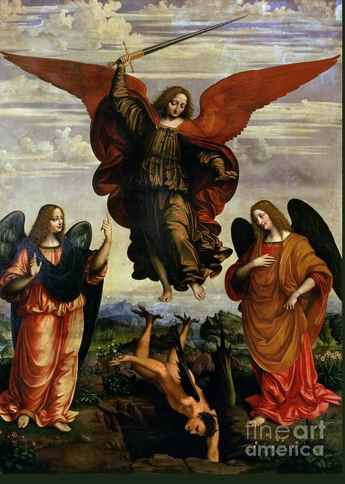 The Greeting Card featuring the painting The Archangels Triumphing Over Lucifer by Marco DOggiono