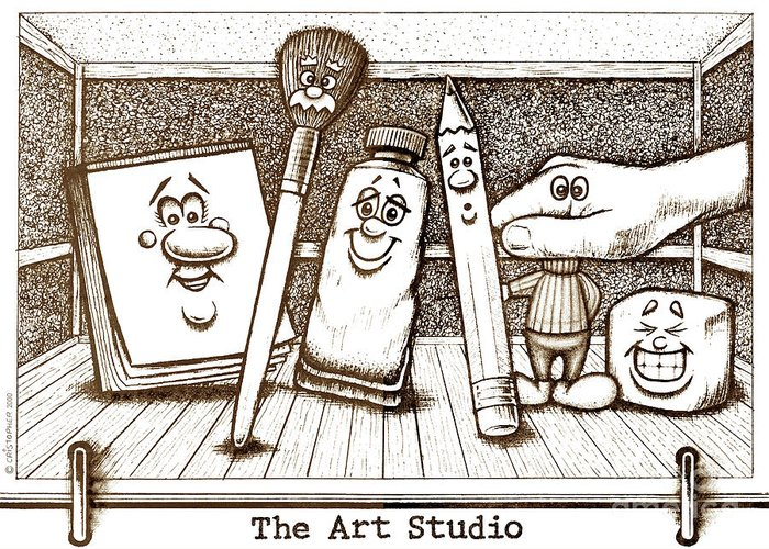 The Art Studio Greeting Card featuring the drawing The Art Studio by Cristophers Dream Artistry