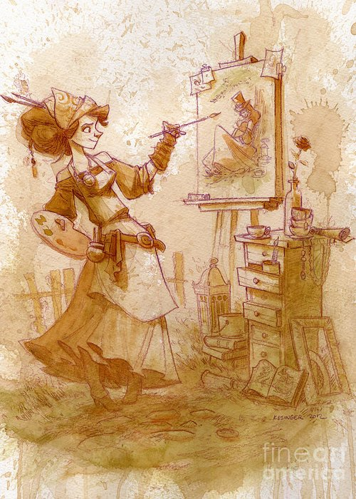 Steampunk Greeting Card featuring the painting The Artist by Brian Kesinger