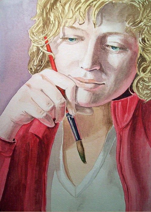 Self Portrait Greeting Card featuring the painting The Artist by Irina Sztukowski