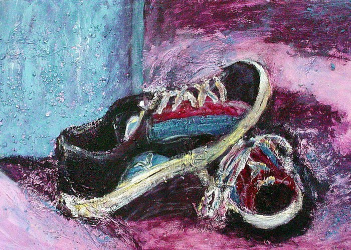 The artists shoes greeting card for sale by sarah crumpler shoes greeting card featuring the painting the artists shoes by sarah crumpler m4hsunfo
