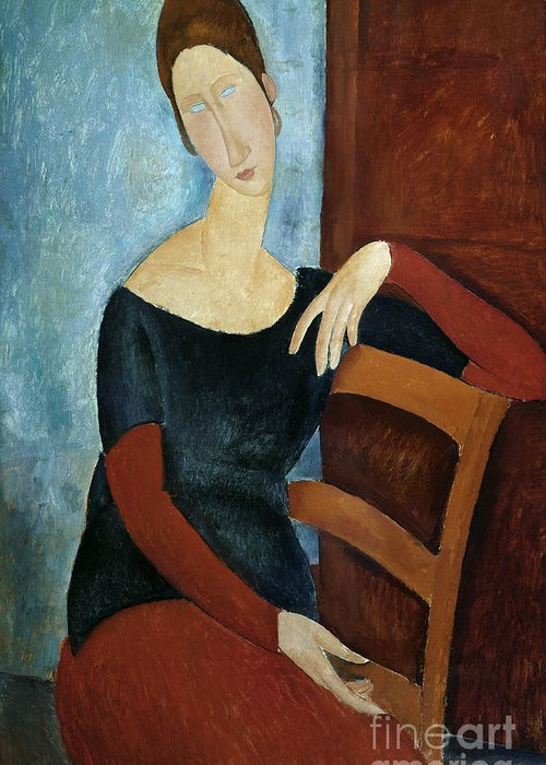 The Greeting Card featuring the painting The Artist's Wife by Amedeo Modigliani
