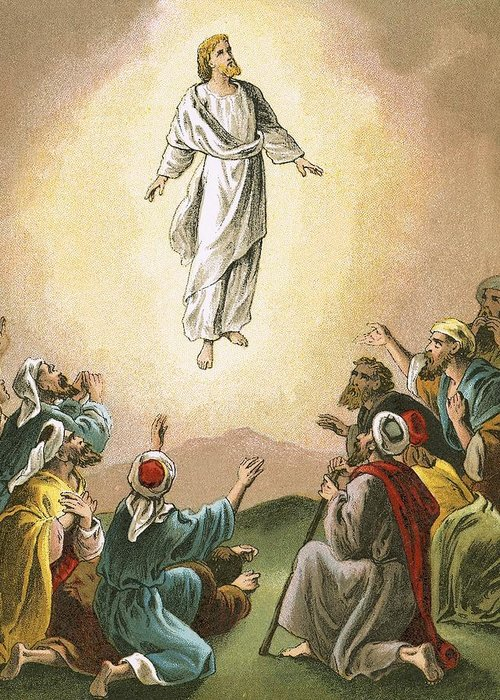 Bible; Ascension; Jesus; Christ; Heaven; Verse Greeting Card featuring the painting The Ascension by English School