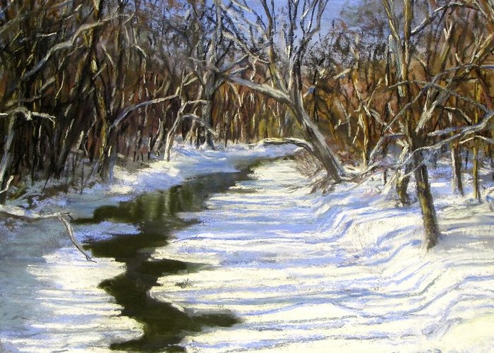 Assabet River Greeting Card featuring the painting The Assabet River In Winter by Jack Skinner