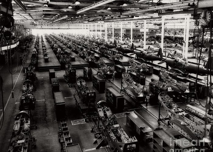 Mass Production Greeting Card featuring the photograph The Assembly Plant Of The Bell Aircraft Corporation In 1944 by Doc Braham
