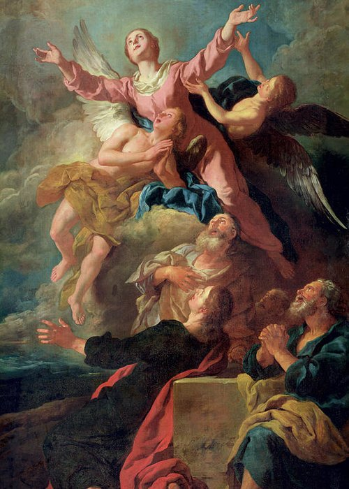 The Greeting Card featuring the painting The Assumption Of The Virgin by Jean Francois de Troy