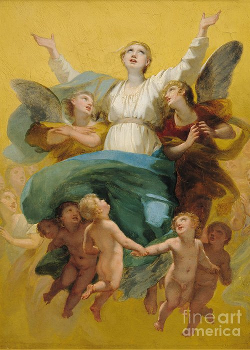 The Greeting Card featuring the painting The Assumption Of The Virgin by Pierre Paul Prudhon