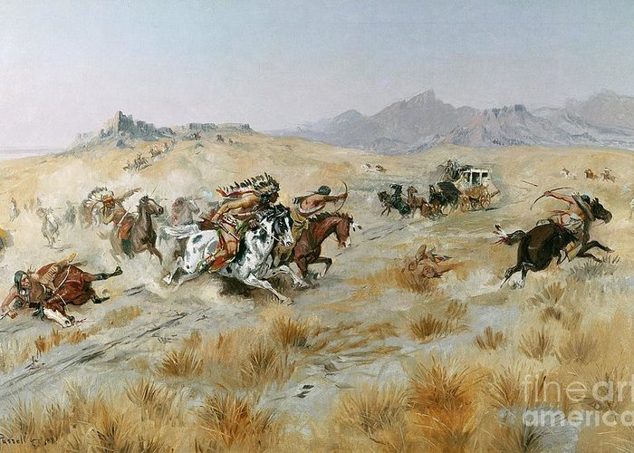 Bows Greeting Card featuring the painting The Attack by Charles Marion Russell