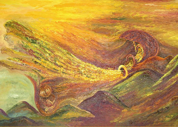 Autumn Greeting Card featuring the painting The Autumn Music Wind by Karina Ishkhanova