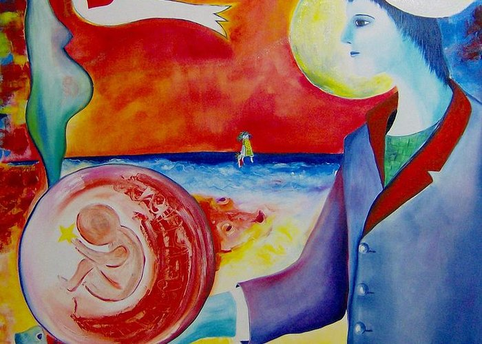 Surreal Greeting Card featuring the painting The Awakening Of Humanity by Nela Vicente