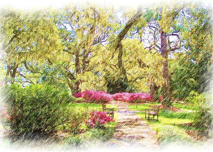 Azalea Greeting Card featuring the digital art The Azalea Garden by Janet Pugh