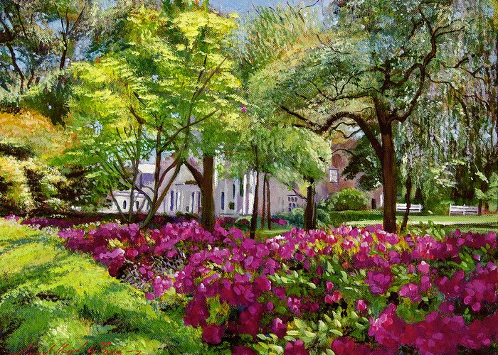 Impressionist Greeting Card featuring the painting The Azaleas Of Savannah by David Lloyd Glover