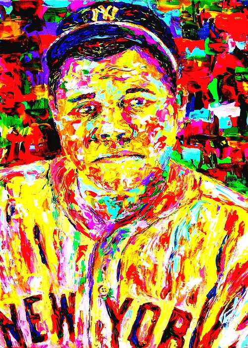 The Babe Greeting Card featuring the painting The Babe by Mike OBrien