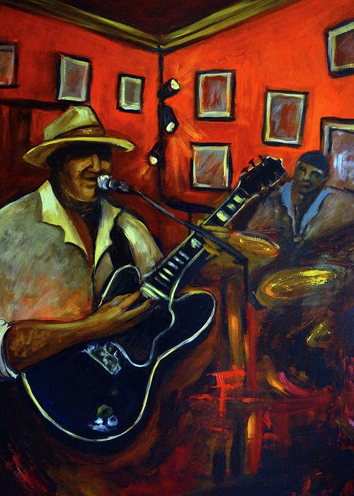 Blues Greeting Card featuring the painting The Back Room by Valerie Vescovi
