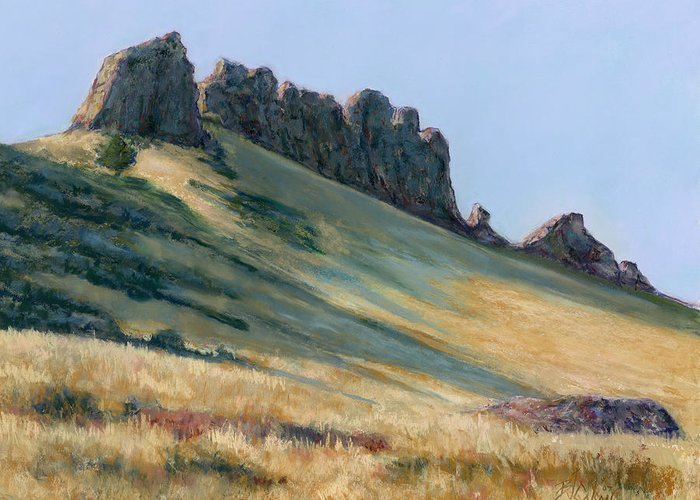 Loveland Colorado Landscape Greeting Card featuring the painting The Backbone by Billie Colson