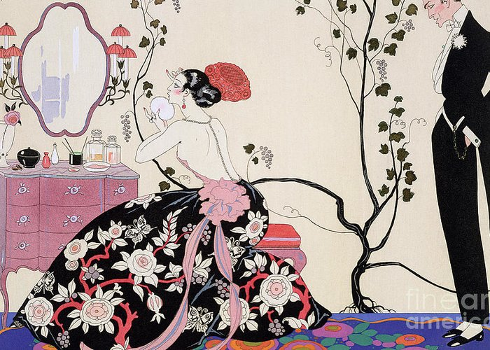 The Backless Dress Greeting Card featuring the drawing The Backless Dress by Georges Barbier