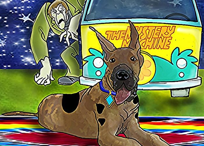 Scooby Scooby Doo Dogs Great Dane Animals Villains Movies Tv The Mystery Machine Cars Where Are You Hanna Barbera Productions 1969 Warner Bros A Pup Named Scooby Doo Scooby Doo Shirts Dog Shirts Scooby Doo Movies Kids Kids Shirts Kids Tv Kids Movies The Creepr Scooby Villain Childhood Greeting Card featuring the digital art The Bait by Cally Smith