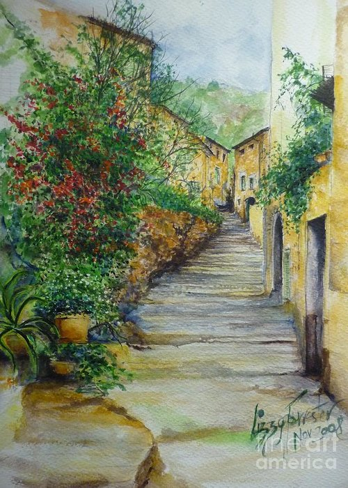 Original Paintings Of Mallorca Greeting Card featuring the painting The Balearics Typical Spain by Lizzy Forrester