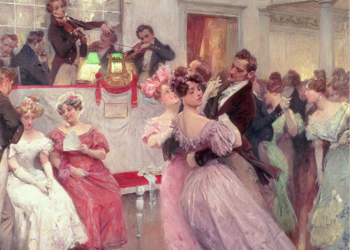 Dancing Greeting Card featuring the painting The Ball by Charles Wilda