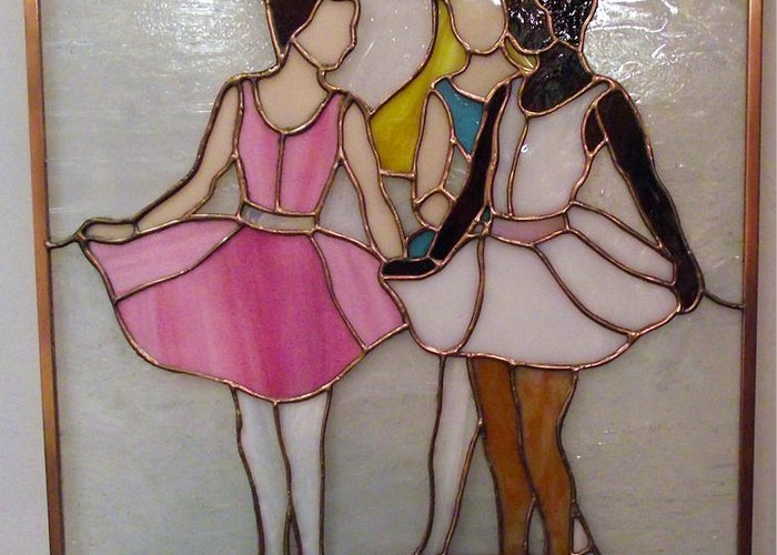 Ballet Greeting Card featuring the glass art The Ballet Dancers In Stained Glass by Arlene Wright-Correll
