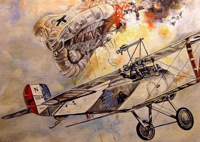 Military Greeting Card featuring the painting The Balloon Buster by Marc Stewart