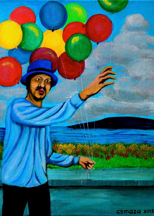 Balloon Greeting Card featuring the painting The Balloon Vendor by Cyril Maza
