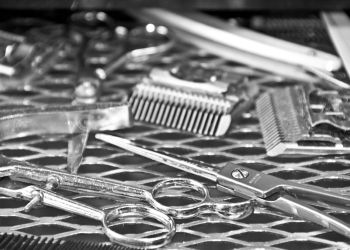 Barber Greeting Card featuring the photograph The Barber Shop 10 Bw by Angelina Vick