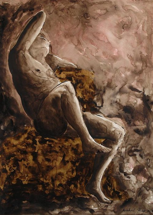 Figurative Greeting Card featuring the painting The Barberini Faun by Michael Price