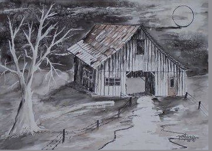 Watercolor Landscape Painting Barn Pen And Ink Painting Drawing Greeting Card featuring the painting The Barn Country Pen And Ink Drawing by Derek Mccrea