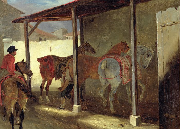 The Greeting Card featuring the painting The Barn Of Marechal-ferrant by Theodore Gericault