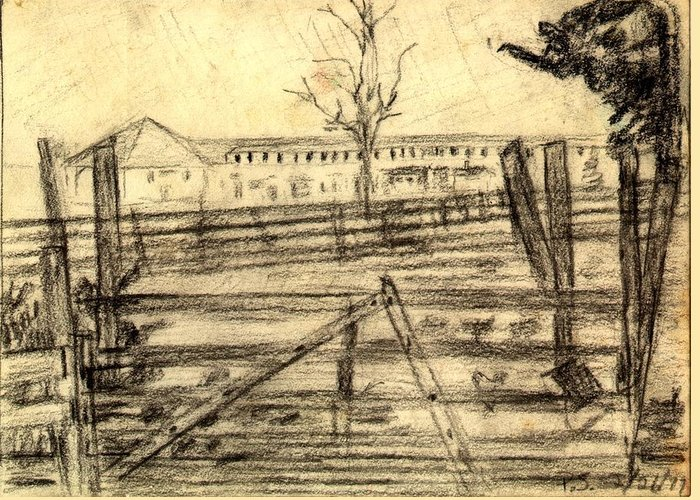 Barn Greeting Card featuring the drawing The Barn by Peter Shor