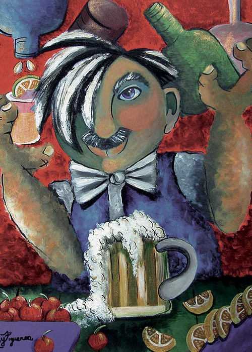 Bartender Greeting Card featuring the painting The Bartender by Elizabeth Lisy Figueroa