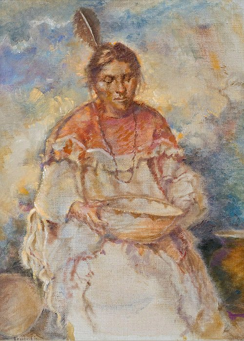 Native Americans Greeting Card featuring the painting The Basket Maker by Ellen Dreibelbis