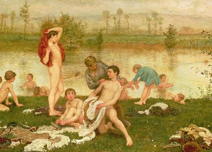 Nude Greeting Card featuring the painting The Bathers by Frederick Walker