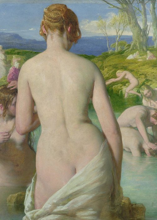 Nude Greeting Card featuring the painting The Bathers by William Mulready