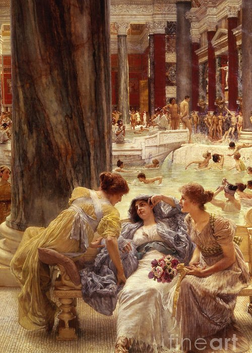 Baths Greeting Card featuring the painting The Baths Of Caracalla by Sir Lawrence Alma-Tadema