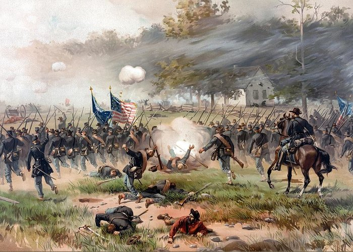 Civil War Greeting Card featuring the painting The Battle Of Antietam by War Is Hell Store