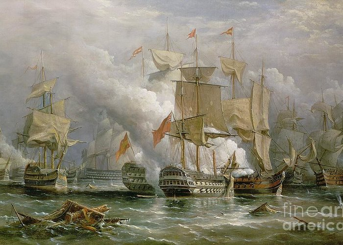 Royal Navy; Coast Of Portugal; Knighted; British Fleet Greeting Card featuring the painting The Battle Of Cape St Vincent by Richard Bridges Beechey