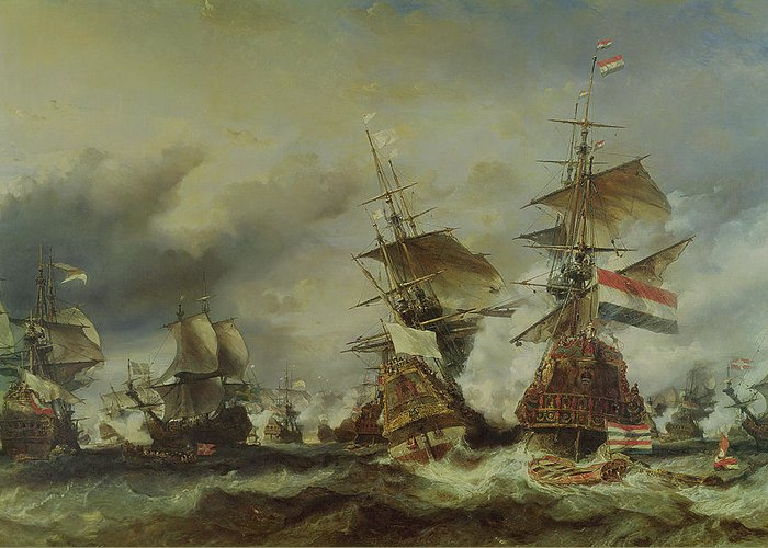The Greeting Card featuring the painting The Battle Of Texel by Louis Eugene Gabriel Isabey