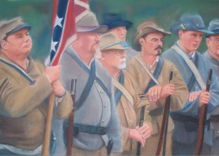 Civil War Reenactment Greeting Card featuring the pastel The Battle Of Wilson's Store by Diane Caudle