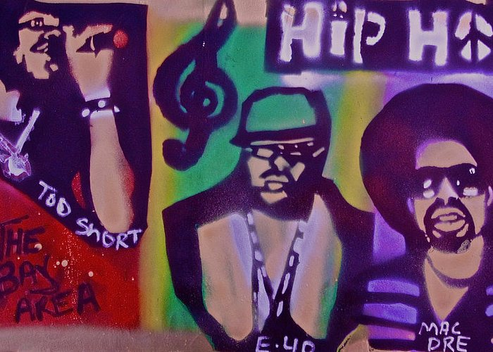 Hip Hop Greeting Card featuring the painting The Bay Area by Tony B Conscious
