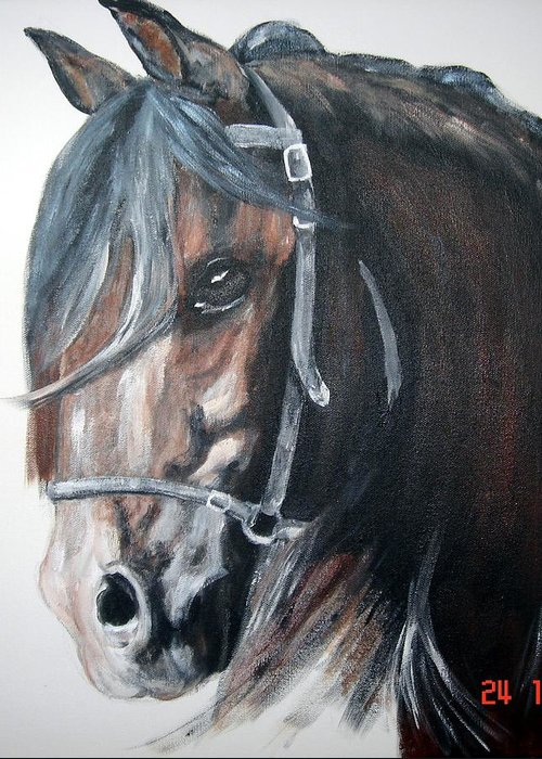 Horse Greeting Card featuring the painting The Bay Horse by BJ Redmond