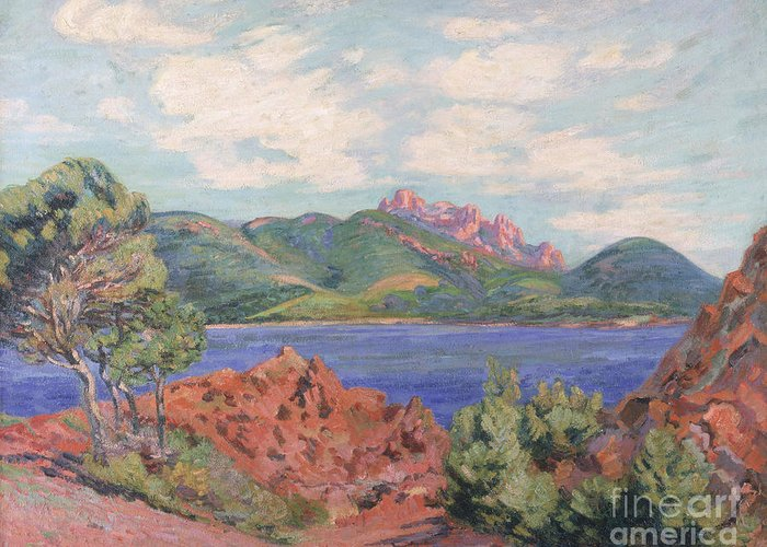 The Greeting Card featuring the painting The Bay Of Agay by Jean Baptiste Armand Guillaumin