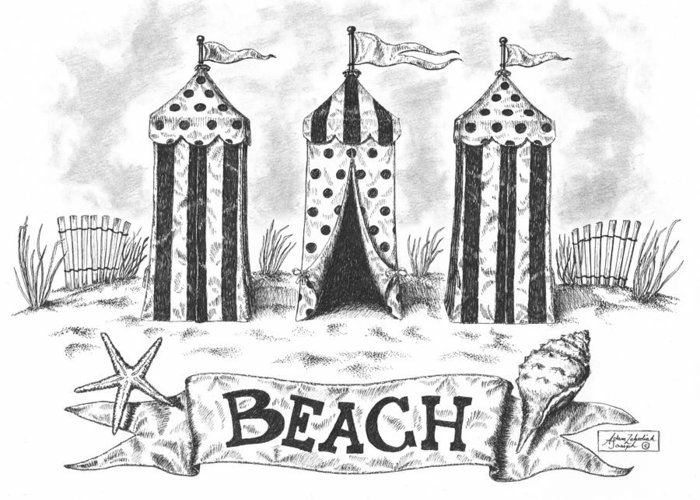 Black Greeting Card featuring the drawing The Beach by Adam Zebediah Joseph