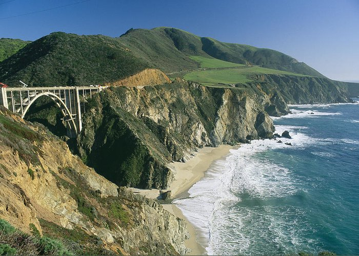 Bixby Bridge Greeting Card featuring the photograph The Beach And Shoreline Along Highway 1 by Phil Schermeister