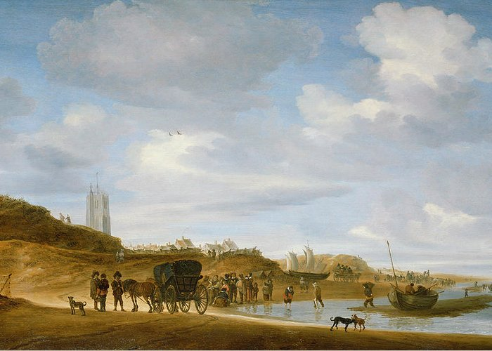 The Greeting Card featuring the painting The Beach At Egmond An Zee by Salomon van Ruysdael