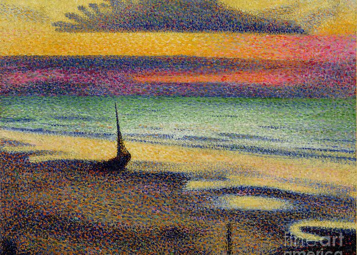 The Greeting Card featuring the painting The Beach At Heist by Georges Lemmen